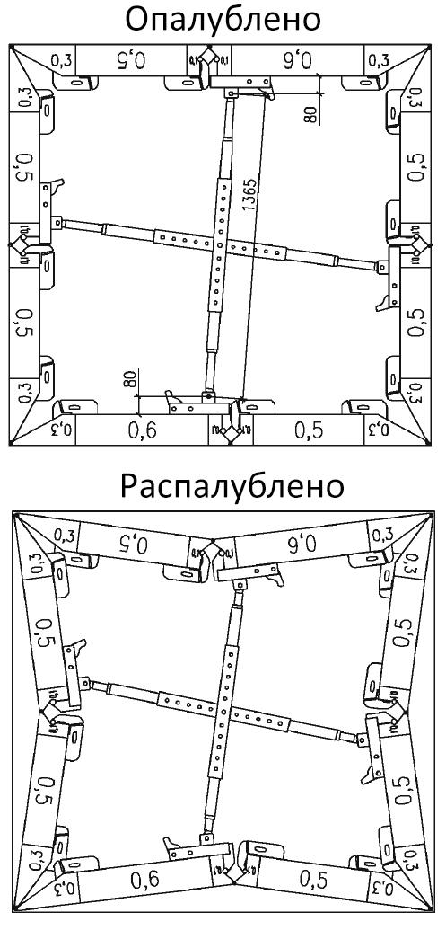 Схема сборки опалубки шахты